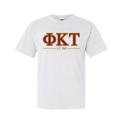 Phi Tau White Comfort Colors Greek Letter Tee