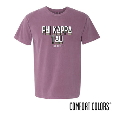 New! Phi Tau Comfort Colors Short Sleeve Berry Retro Tee