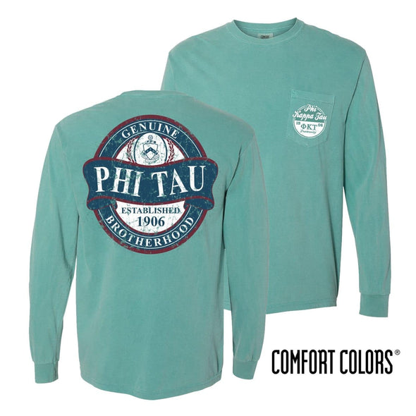 Phi Tau Faded Green Comfort Colors Long Sleeve Pocket Tee
