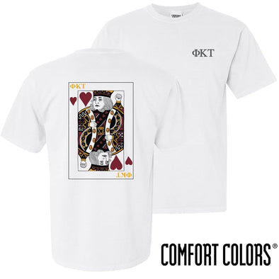 New! Phi Tau Comfort Colors White King of Hearts Short Sleeve Tee