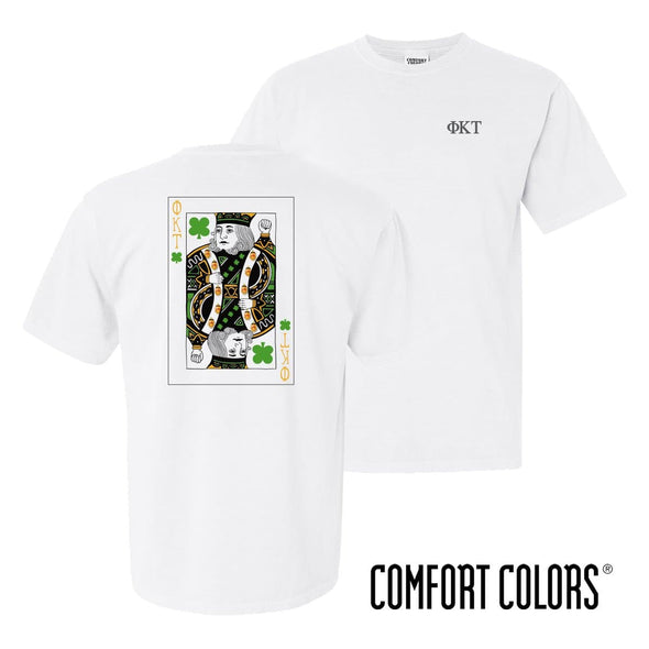 New! Phi Tau Comfort Colors White Short Sleeve Clover Tee