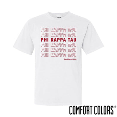 Phi Tau Comfort Colors White Thank You Bag Tee