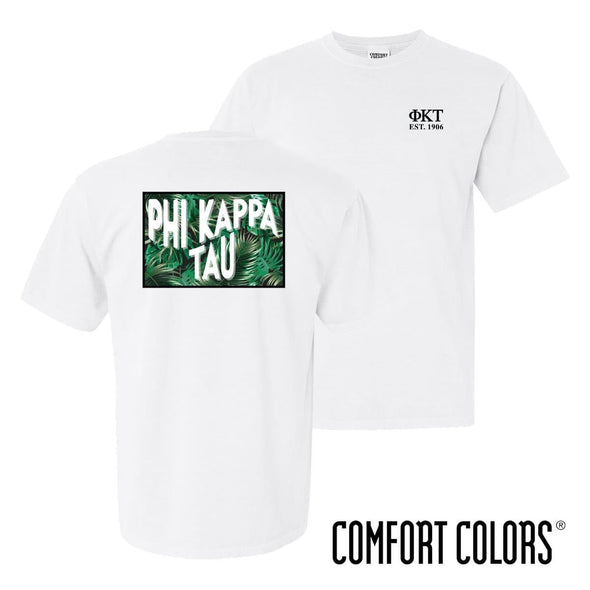New! Phi Tau Comfort Colors White Short Sleeve Jungle Tee