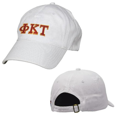 Phi Tau White Greek Letter Adjustable Hat