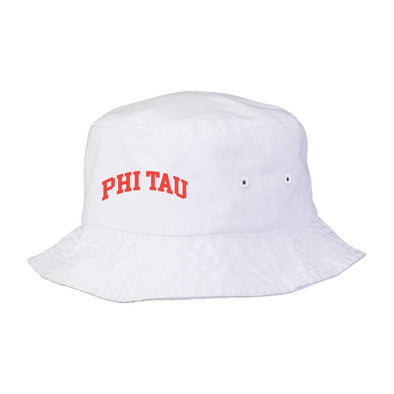 New! Phi Tau Title White Bucket Hat