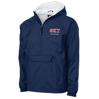 Phi Tau Personalized Charles River Navy Classic 1/4 Zip Rain Jacket