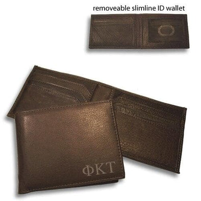 Sale! Phi Tau Brown Bi-Fold Greek Letter Wallet