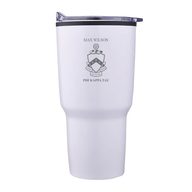 New! Phi Tau Personalized 30oz White Tumbler