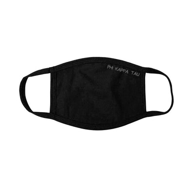 New! Phi Tau Black Adjustable Face Mask