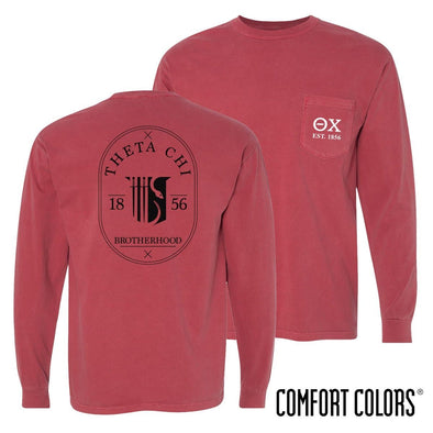 Theta Chi Comfort Colors Crimson Badge Long Sleeve Pocket Tee
