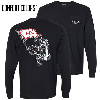 New! Theta Chi Comfort Colors Black Astronaut Long Sleeve Pocket Tee
