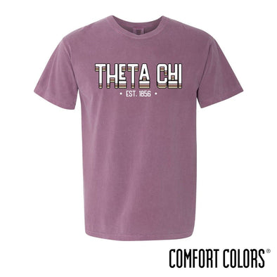 New! Theta Chi Comfort Colors Short Sleeve Berry Retro Tee