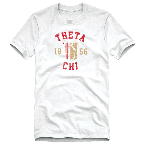 Theta Chi White Distressed Crest Tee