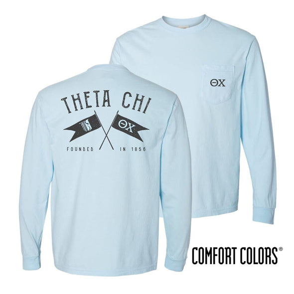 Theta Chi Light Blue Comfort Colors Long Sleeve Pocket Tee