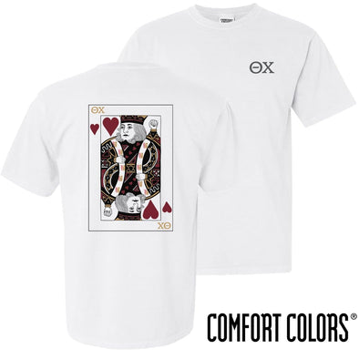 New! Theta Chi Comfort Colors White King of Hearts Short Sleeve Tee