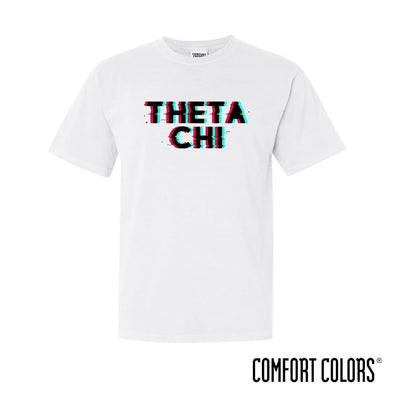 New! Theta Chi Comfort Colors White Glitch Short Sleeve Tee