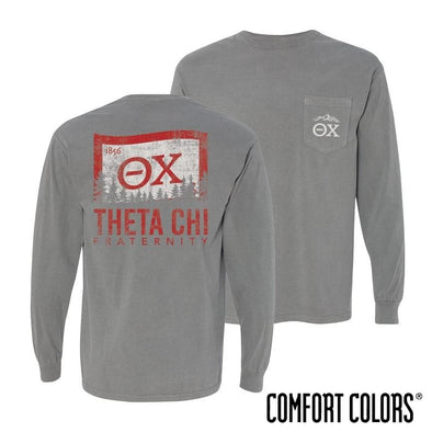Theta Chi Gray Comfort Colors Flag Long Sleeve Pocket Tee