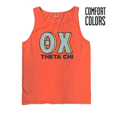 Theta Chi Bright Salmon Retro Comfort Colors Tank