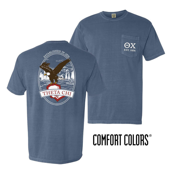 Theta Chi Vintage Blue Comfort Colors Eagle Tee