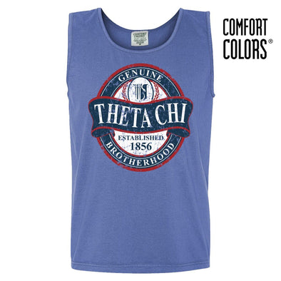 Theta Chi Faded Blue Comfort Colors Tank