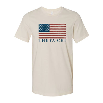 New! Theta Chi Natural Retro Flag Tee