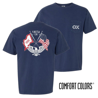 New! Theta Chi Comfort Colors Short Sleeve Navy Patriot tee