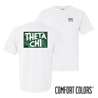 Theta Chi Comfort Colors White Short Sleeve Jungle Tee