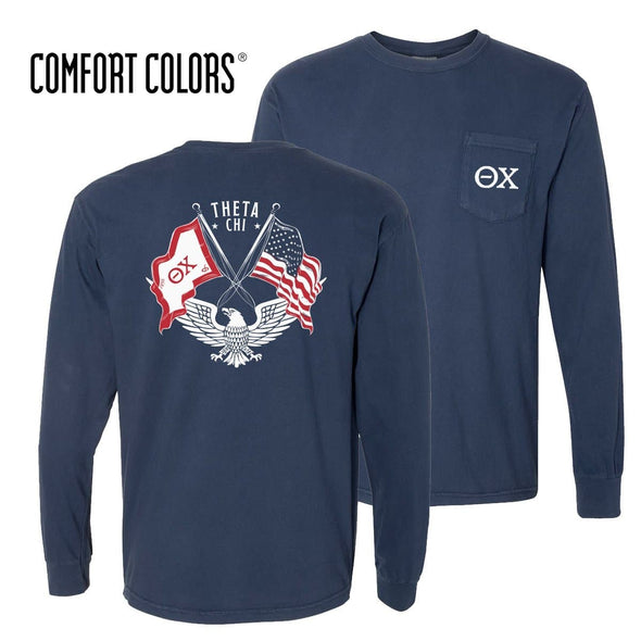 Theta Chi Comfort Colors Long Sleeve Navy Patriot tee