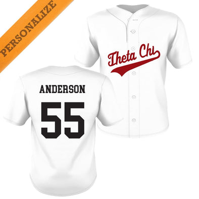 New! Theta Chi Personalized White Mesh Baseball Jersey