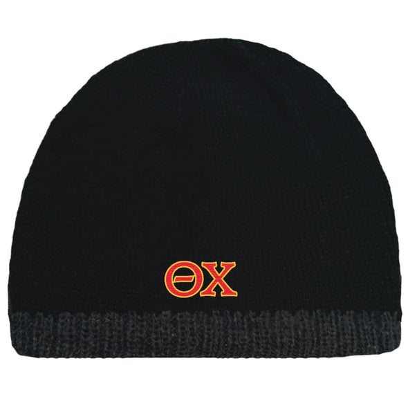 Sale! Theta Chi Black Knit Beanie with Fleece Lining