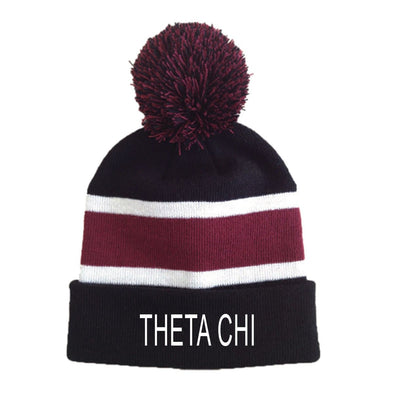 Theta Chi Striped Pom Beanie