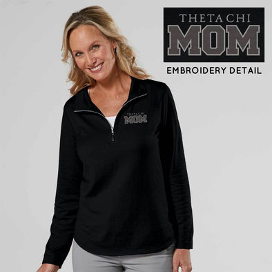 Clearance! Theta Chi Ladies Black 1/4 Zip Mom Pullover