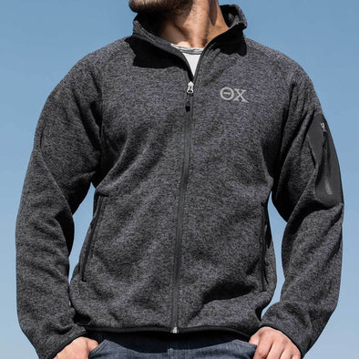 Clearance! Theta Chi Heather Sweater Fleece Jacket
