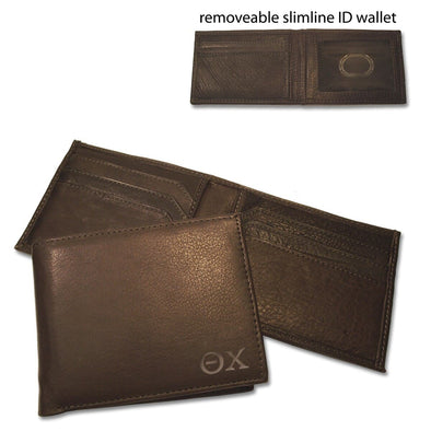 Sale! Theta Chi Brown Bi-Fold Greek Letter Wallet