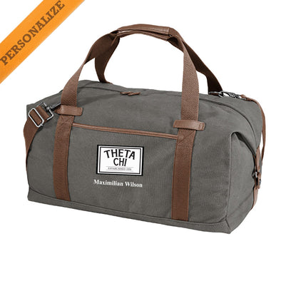 New! Theta Chi Personalized Gray Canvas Duffel
