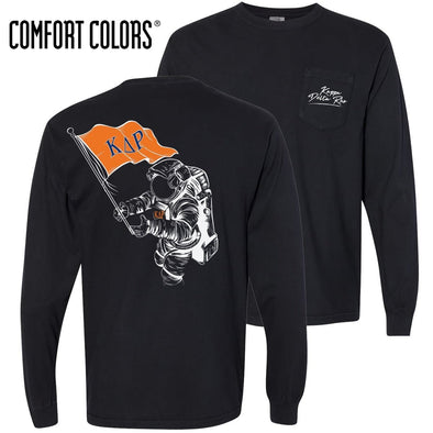 KDR Comfort Colors Black Astronaut Long Sleeve Pocket Tee