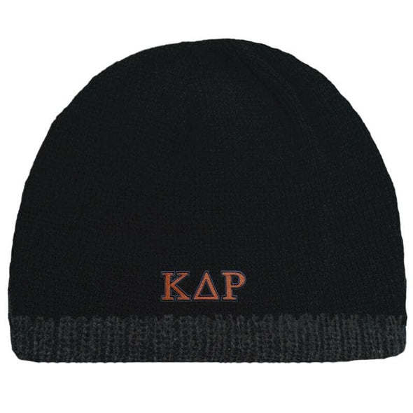 Sale! Kappa Delta Rho Black Knit Beanie with Fleece Lining