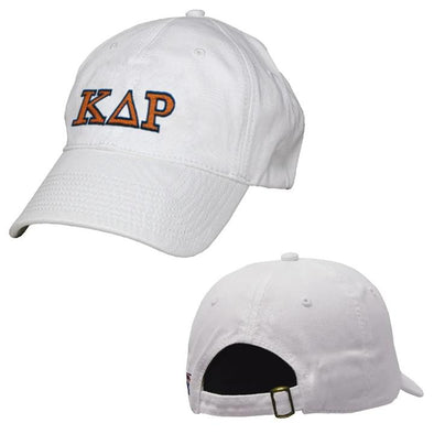 Kappa Delta Rho White Greek Letter Adjustable Hat