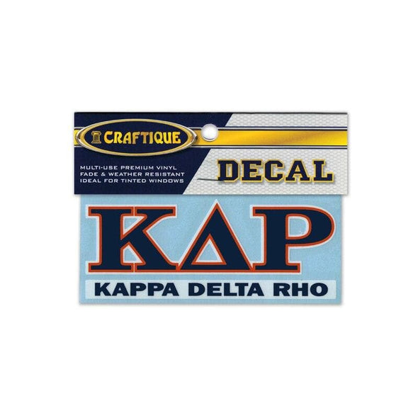Kappa Delta Rho Greek Letter Decal