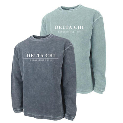 New! Delta Chi Charles River Corded Crew Sweatshirt