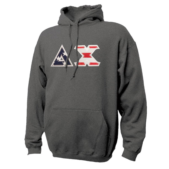 Delta Chi Stars & Stripes Sewn On Letter Hoodie
