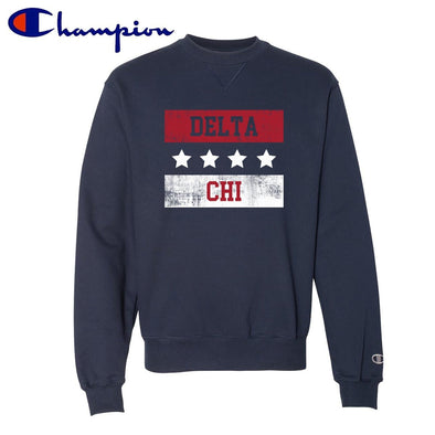 New! Delta Chi Red White and Navy Champion Crewneck