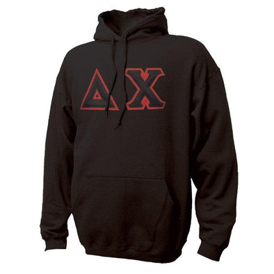 Delta Chi Black Hoodie with Sewn On Greek Letters