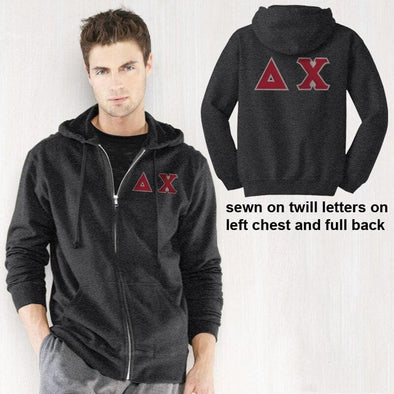 Clearance! Delta Chi Dark Heather Full-Zip Hoodie with Sewn On Letters