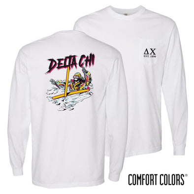 New! Delta Chi Comfort Colors White Long Sleeve Ski-leton Tee