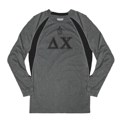 Clearance! Delta Chi Heather Gray Long Sleeve Performance Tee