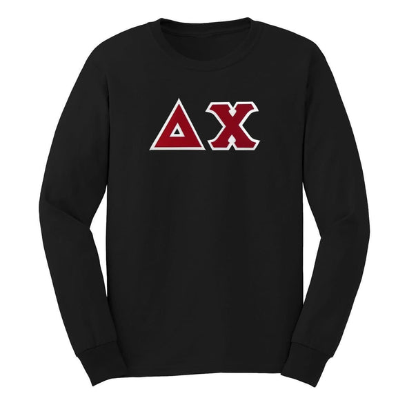 Delta Chi Black Sim Stitch Letter Long Sleeve Tee