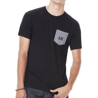 Clearance! Delta Chi Black Contrast Pocket Tee