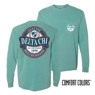 Delta Chi Faded Green Comfort Colors Long Sleeve Pocket Tee