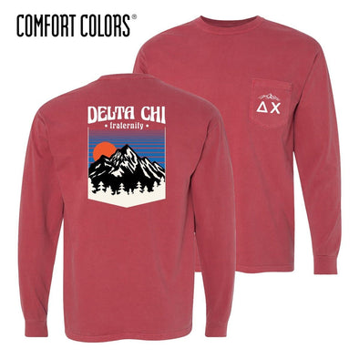 New! Delta Chi Comfort Colors Long Sleeve Retro Alpine Tee